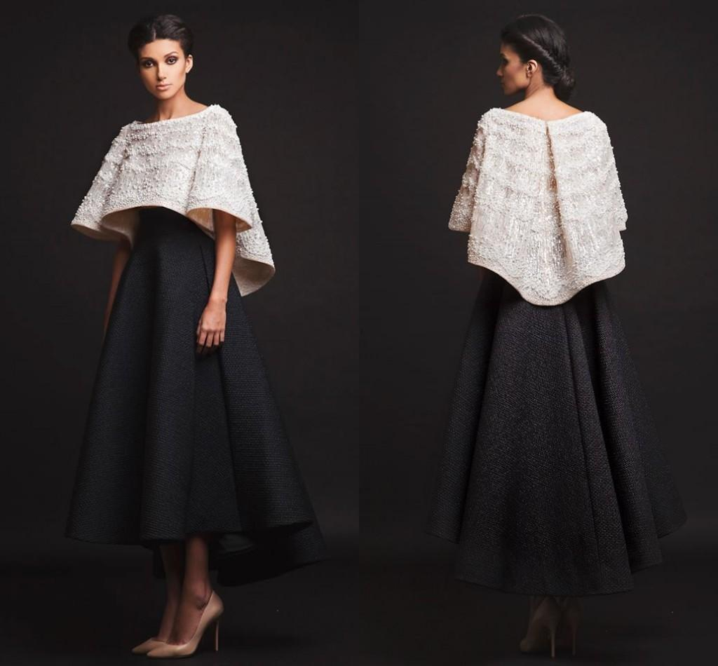 2019 Nuevo Negro Blanco Krikor Jabotian Vestidos de noche Dos piezas Hasta el tobillo Mangas medias Vestidos de baile con chaqueta Vestidos formales Imagen real