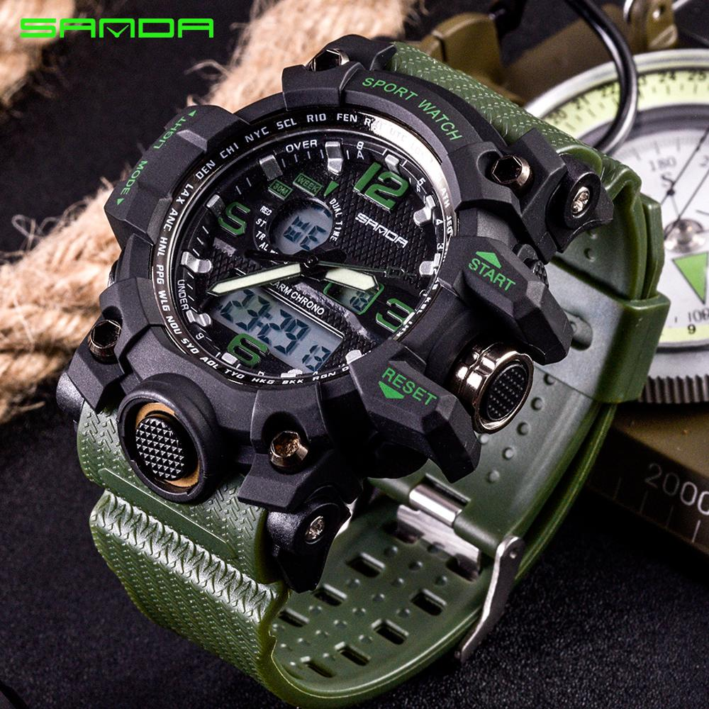 2997be3bb3f SANDA Watches Men Analog Quartz Digital Watch Waterproof Sports Watches For  Men Silicone LED Electronic Watch Relogio Masculino S927 Designer  Wristwatches ...