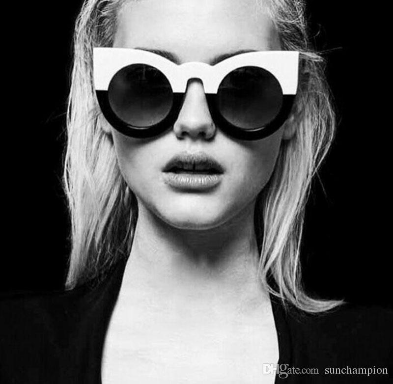 e37836e033 Contast Color Women Sunglasses Women Round Cat Eye Sunglasses UV400 ...