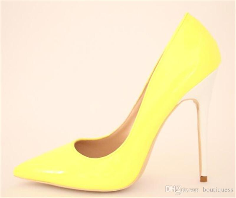 Fashion Ladies Yellow Pumps Pointed Toe Patent Leather Shallow White  Stiletto Heel Pumps High White Heels Office Lady Dress Shoes 12 Cm Slip On  Shoes Mens ...