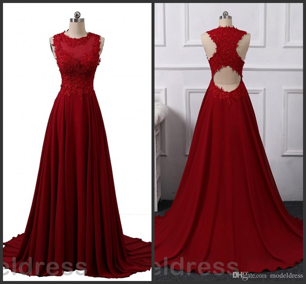 2018 Elegant Burgundy Prom Dresses Jewel Open Back Appliques Beaded Chiffon Sweep Train Actual Photo Evening Party Gowns Cheap Customized