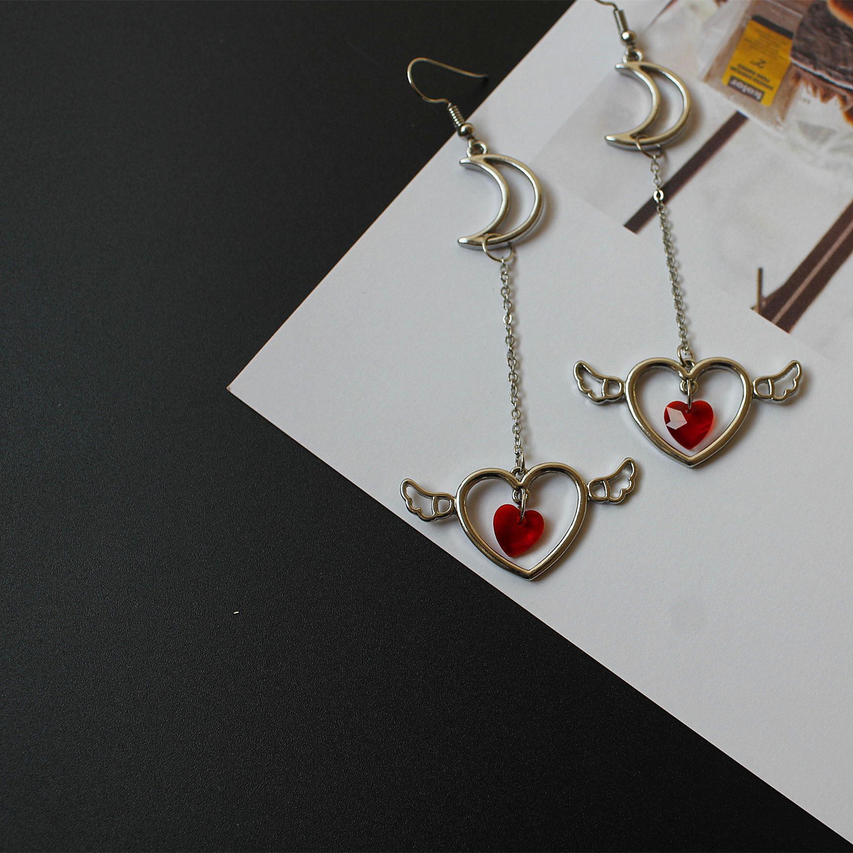 Sweet Long Earrings Angel Wings Earrings Japanese Jewelry Zircon