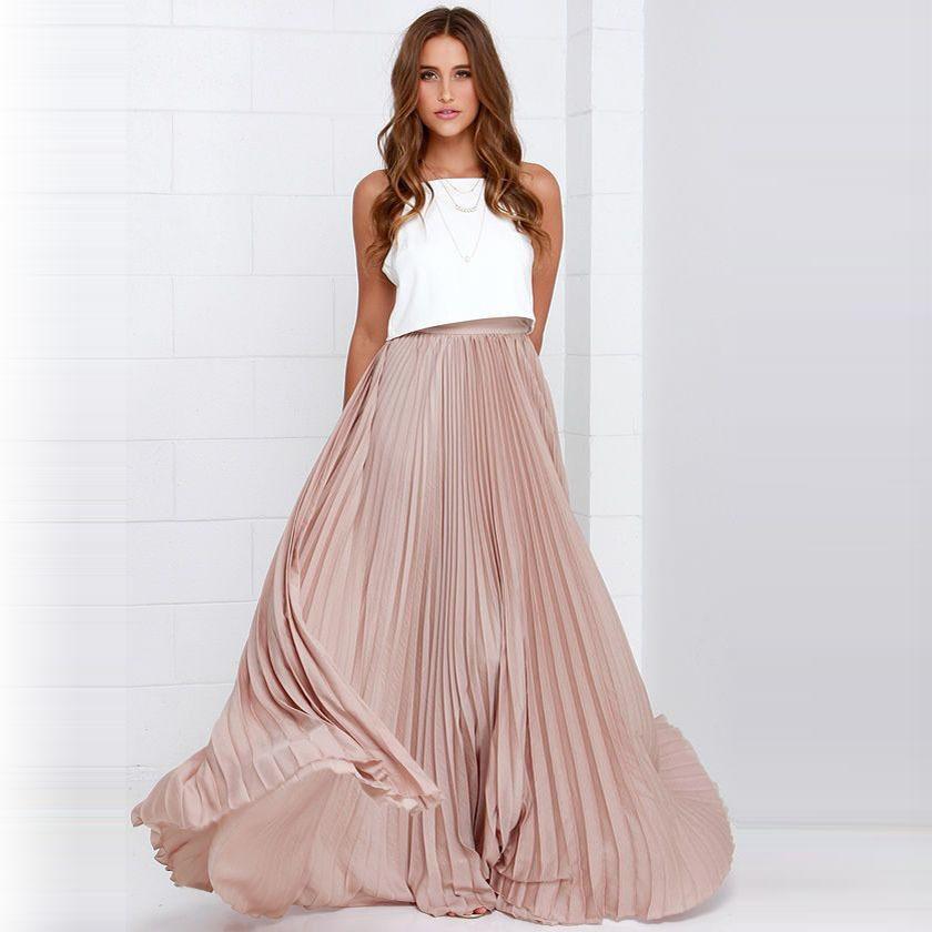 aeaf7460e8 Compre Pretty Pink Plisada Gasa Faldas Largas Para La Moda De Las Mujeres  Piso De Longitud Falda Maxi Estilo De La Cremallera Mujeres De Alta Calidad  Ropa ...