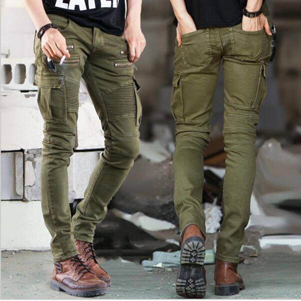 27588618efdc6 Compre Ejército Biker Jeans Hombres Skinny Cargo Jeans Con Bolsillos  Laterales 2017 Pantalones De Mezclilla Para Hombre Slim Fit Zipper  Motocicleta Homme A ...
