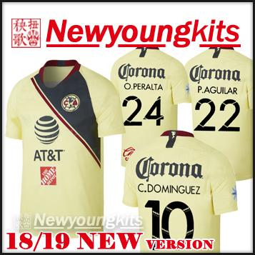 68dac0c92b6 2019 2018 19 Club America Soccer Jersey 18 19 CA Football Uniforms PERALTA  P.AGUILAR DOMINGUEZ S.ROMERO SAMBUEZA Soccer Shirt From Newyoungkits