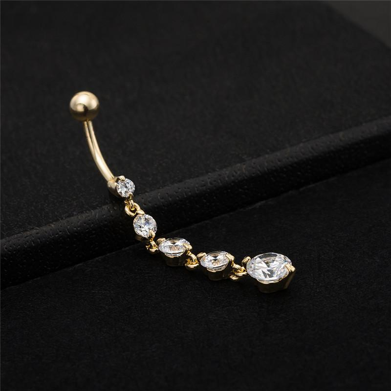 Beach Sexy Gold Filled Clear Crystal Zircon Dangle Belly Button Rings For Female Dance Piercing Body Jewelry New Year BODY-0003