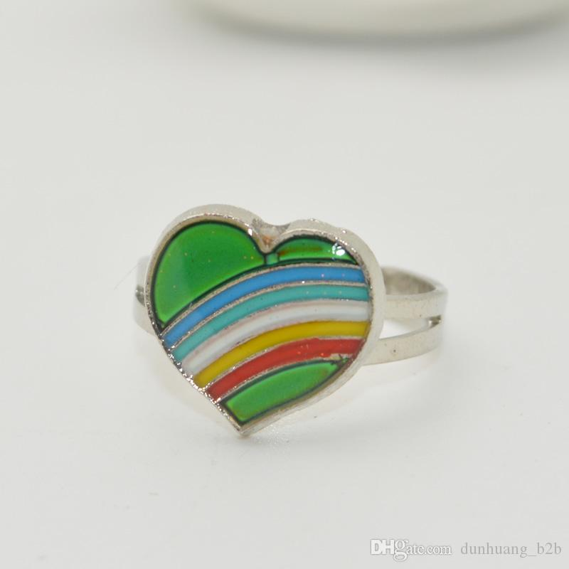 Mood Ring Wholesale Change Color Smart Rng Creative Gift Smart Ring Two Hearts Ring