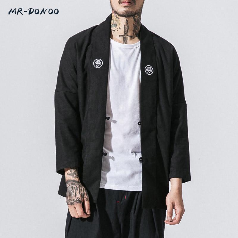 Großhandels MRDONOO Marke Herbst Winter neue Männer Jacken lange chinesischen Stil Tradtional Schreiben Stickerei Slim Fit winddicht Casual Mäntel
