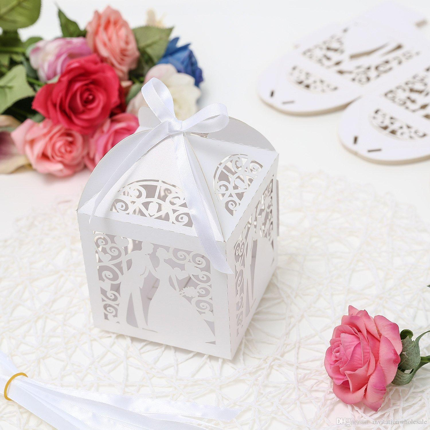 2018 4 X 4 Inches Laser Cut Pearl Paper Wedding Party Favor Candy