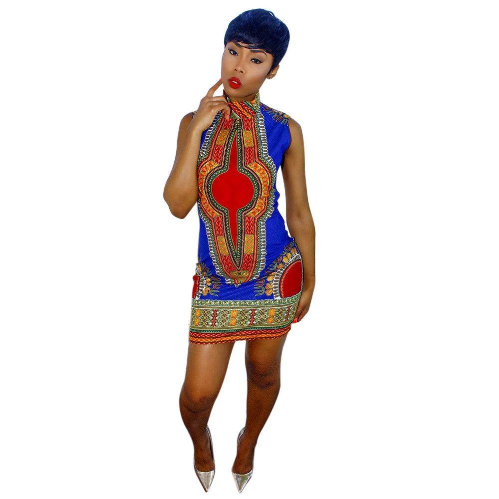 fcaa4177a9 Impressão Africano Dashiki vestido para as mulheres vestidos de Verão Novo  plus size áfrica roupas tradicionais Senhoras vestido de moda desenhos