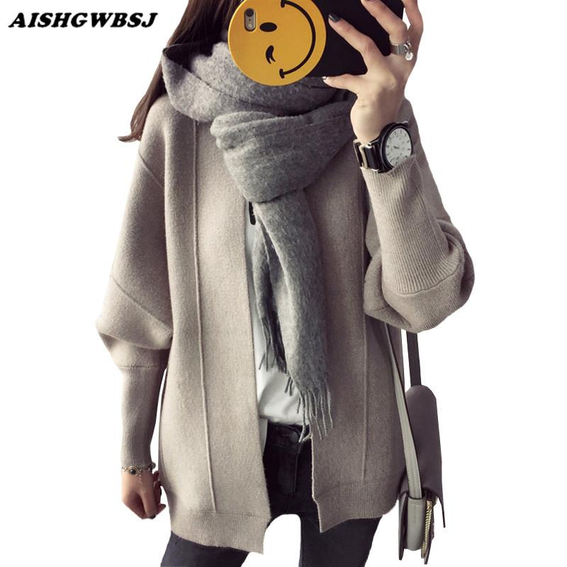 Nuevo Cuello Solid Aishgwbsj V Loose Compre Mujeres Suéter Cardigan g7B6Rqcf