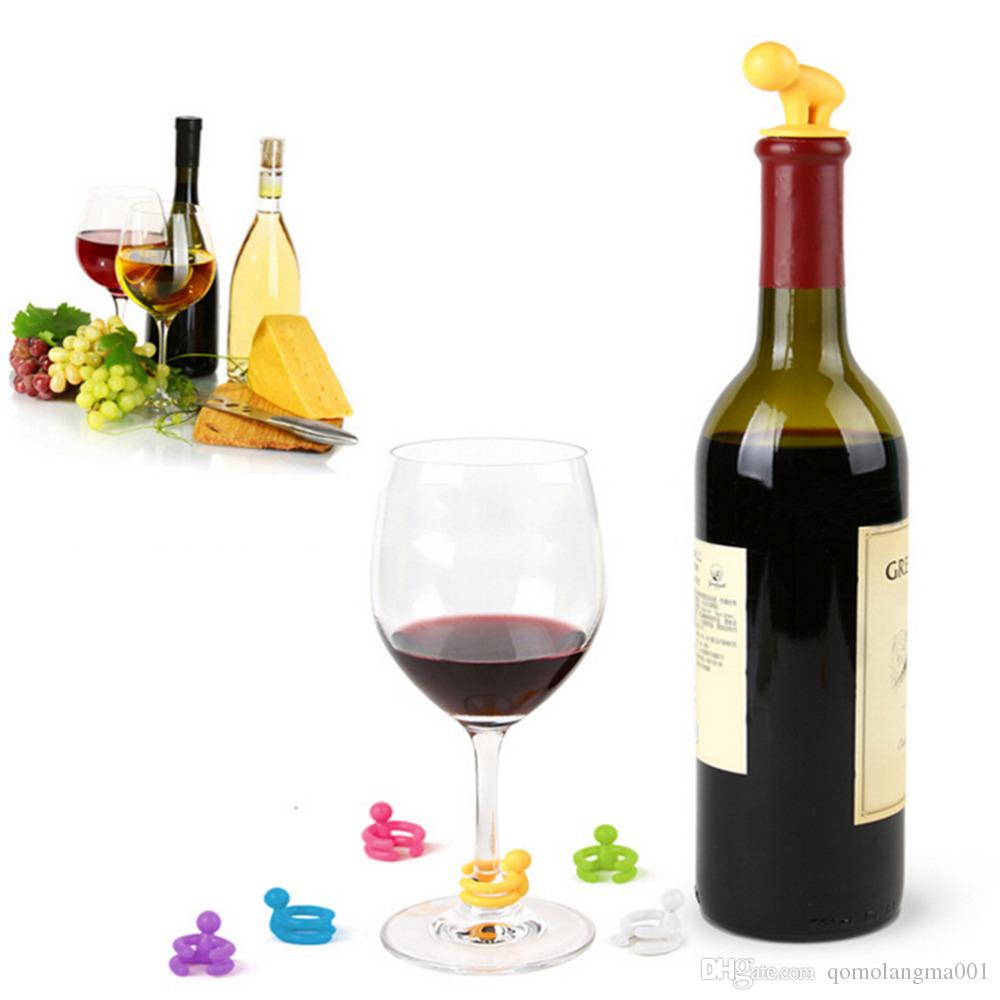 Creative Silicone Small Drunkard Champagne Wine Bottle Stopper with Wine Glass Cup Marker Set Novelty Party Accessories