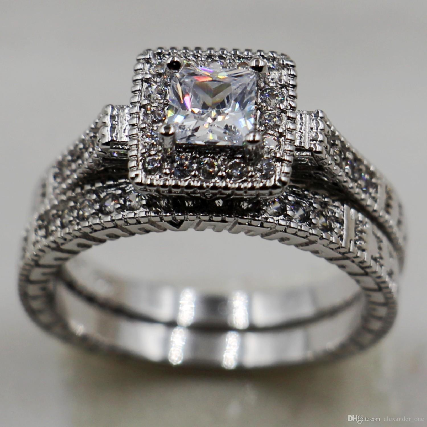 70bb106b0b6 2019 Size 5,6,7,8,9,10 Vintage Brand Jewelry Women'S 10KT White Gold Filled  White Sapphire CZ Crystal Stone Wedding Couple Ring Set From Uppoint, ...