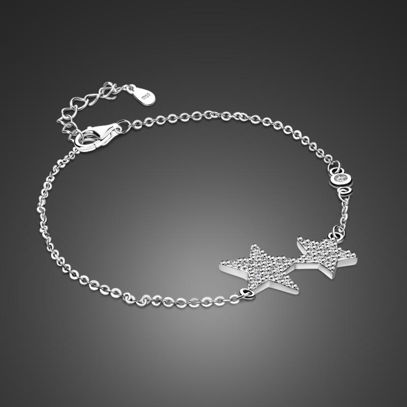 2019 Simple Pure 925 Silver Bracelet Girl Star Pendant Solid Silver
