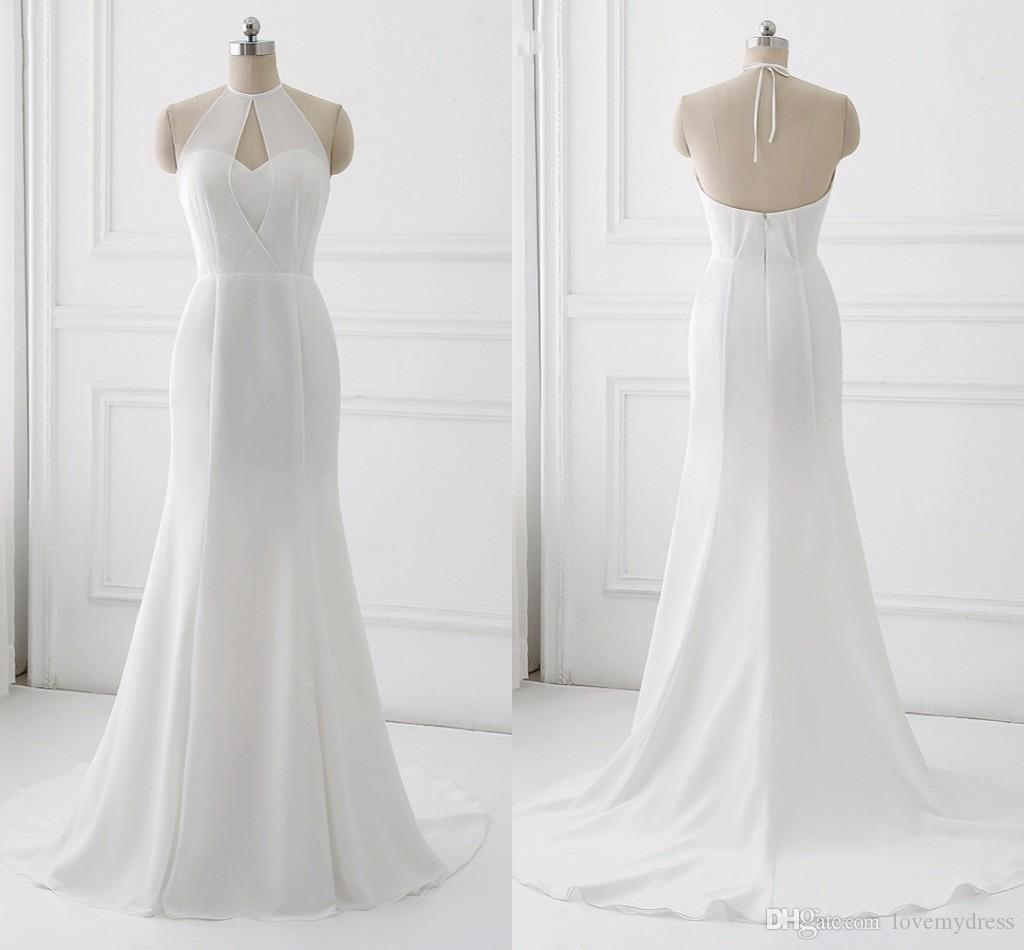2018 Simple Cheap Mermaid Wedding Dress Halter Sheer Neck Open Back ...