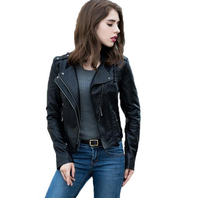 e91a899746b Jaqueta Couro Feminina 2017 Spring Autumn Black Leather Jacket ...