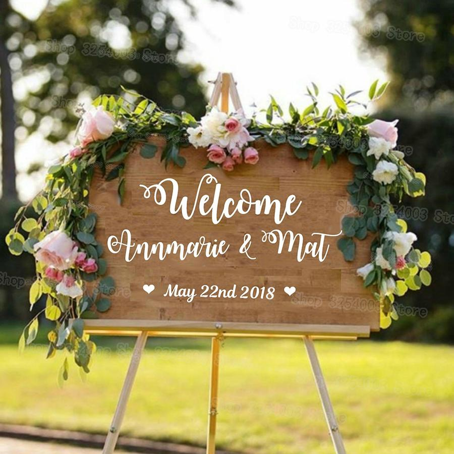 Wedding Welcome Sign.Personalised Wedding Welcome Sticker Sign Bride And Groom Names Wedding Date Customised Vinyl Sticker Decal New Arrival S430