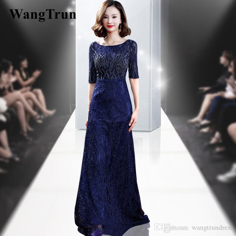 bb3303f142e Luxury Beaded Crystals Evening Dress Drak Blue Prom Gown Scoop Half Sleeves  Sweep Train Mother Of The Bride Dresses Evening Dresses In Dubai Evening  Dresses ...