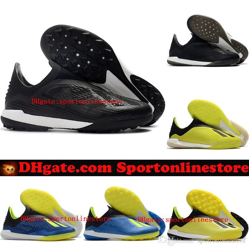 6afeff7da6a 2018 Mens Soccer Shoes X Tango 18+ IN TF Football Boots Indoor Soccer Cleats  X 18 Original Leather Turf Chuteiras De Futebol Cheap Blackout Ladies Boots  ...