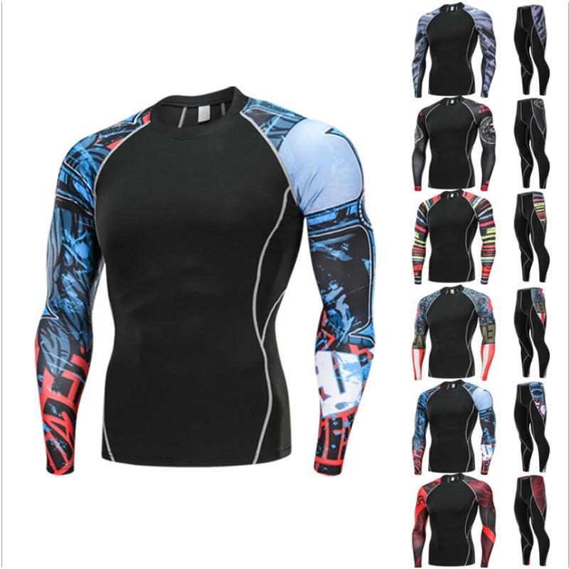 Video Surveillance Supply Men Running Sportswear Suits Sweatshirt Sweatpants Gym Fitness Crossfit Hoodie Pants Sets Male Jogging Sports Tracksuits Apparel 100% Original