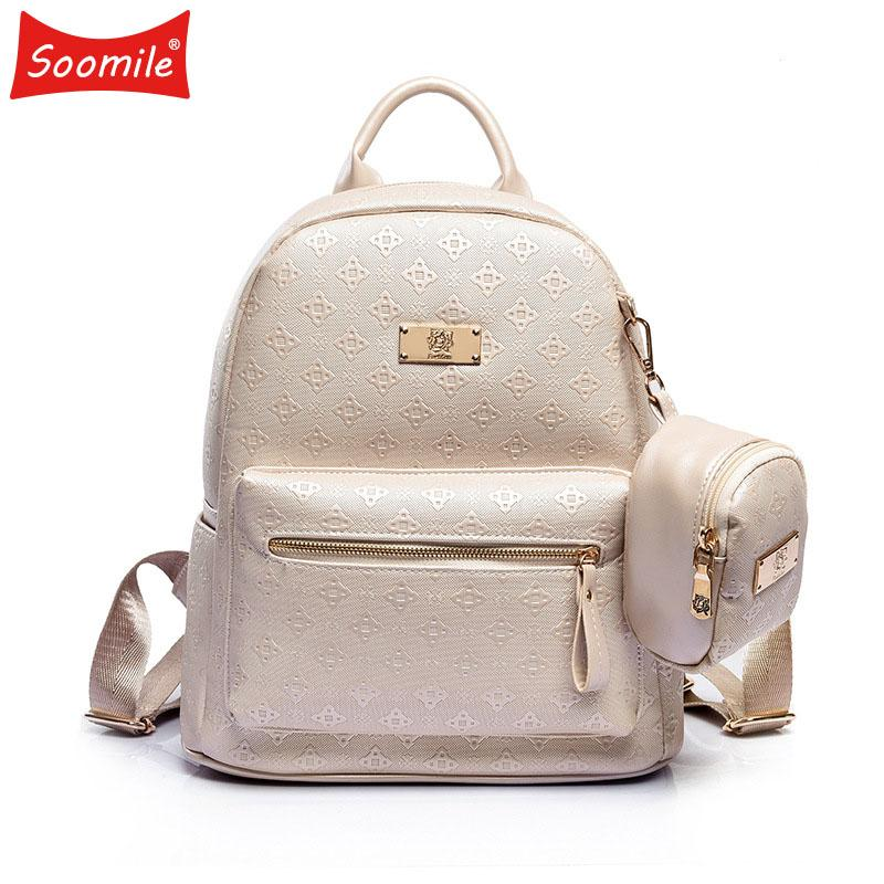 f053c033a23 Soomile Brand Women's Backpack Fashion 2018 Women's Leisure Grade Pu Bag  Set With Purse Girl Backpack School Bag for Teenagers