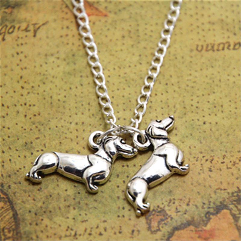 0d5adfabebb5f 12pcs/lot Dachshund Necklace Charm pendant Doxie Weenie sausage dog charm  silver tone