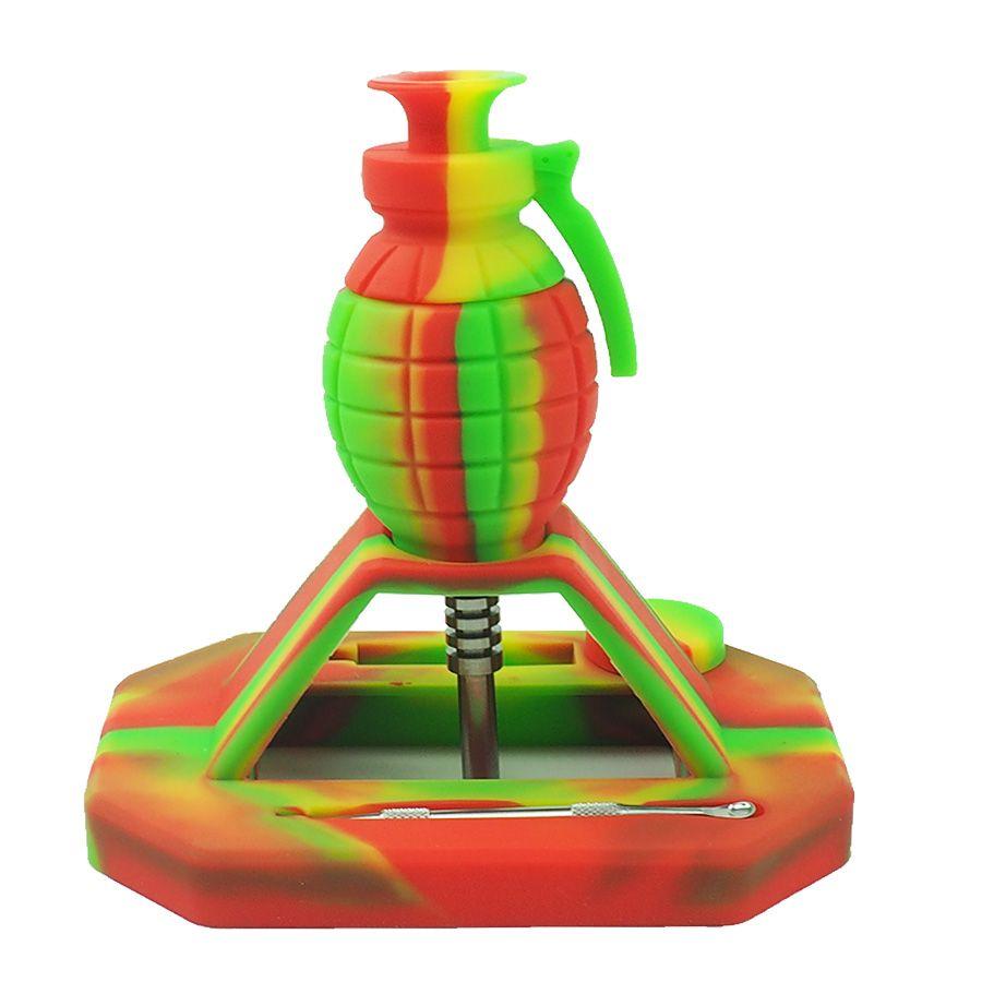 Nuovo design Granata Nectar silicone Kit collettore con punta in titanio 14mm Multi color nettare collettore piattaforme petrolifere tubo bong in vetro