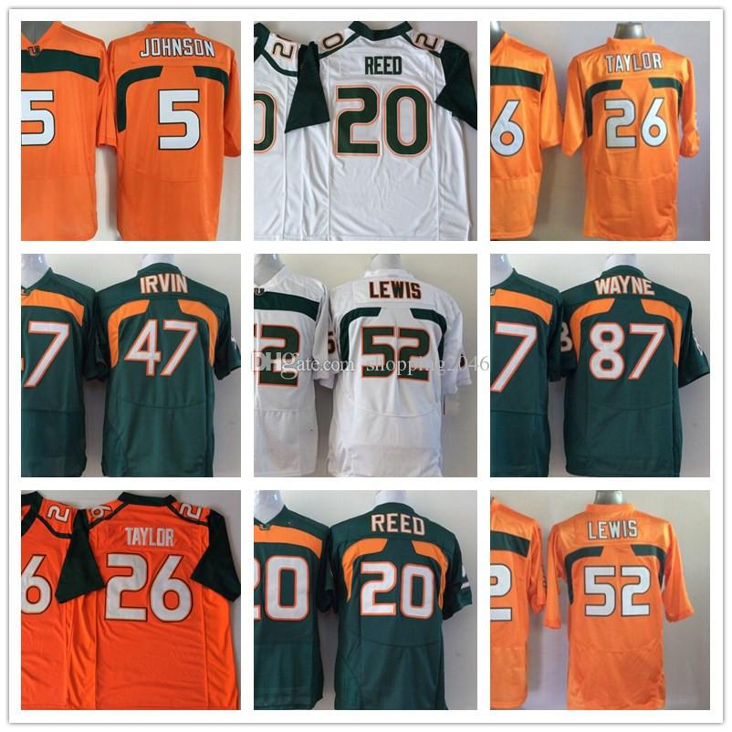 Miami Hurricane 5 Andre Johnson 20 Ed Reed 26 Sean Taylor 47 Michael Irivin  52 Ray NCAA College Football Jerseys Stitched logos