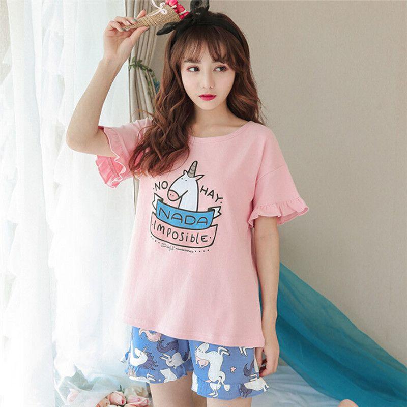 2019  Unicorn Print Pajamas Summer Girls Ruffles Short Sleeve Elastic Waist  Cotton Lounge Sleep Pyjamas For Women Girls From Roberr e0b26c7ab