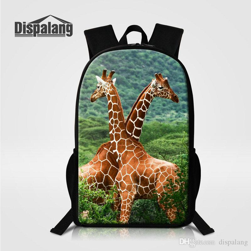 04aa647bee9c 16 Inch School Bags For Primary Fashion Women Travel Shoulder Bag Giraffe Animal  Printed Backpack For Children Mochila Larger Rucksack Bolsa Cool Bags ...