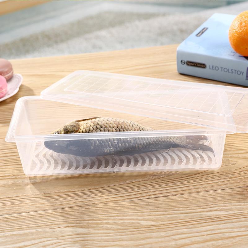 Caja de Drenaje de Almacenamiento de Alimentos de Plástico Latas Selladas Crujientes Conservación de Secado Transparente Contenedor de Vajilla de Verduras de Frutas