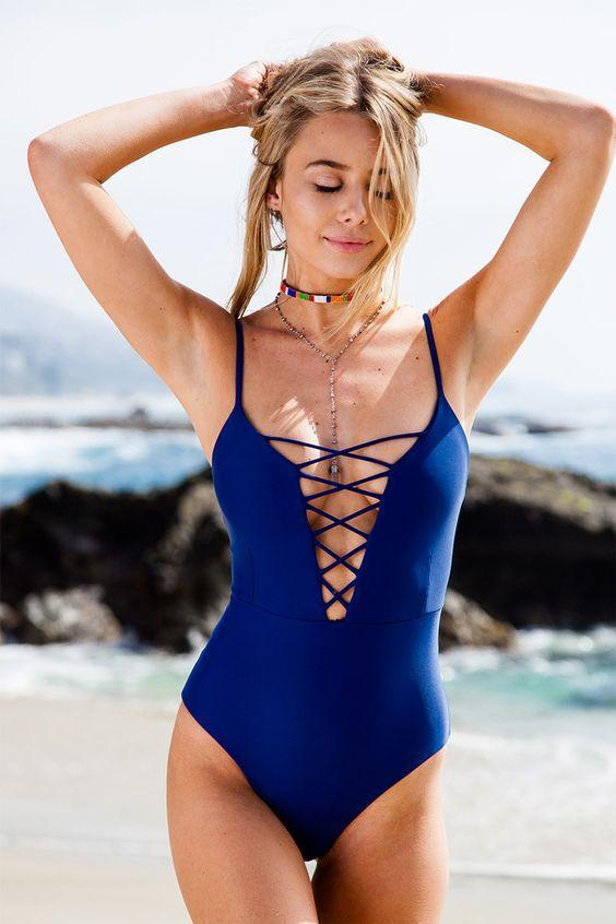 2017 new girls/women swimwear pinup solid deep v string swimsuits one piece badpakken vrouwen traje de bano mujer may