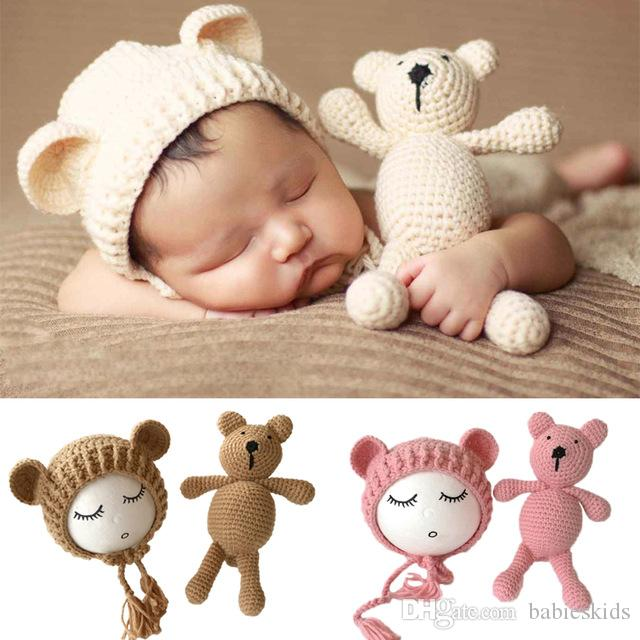 Newborn Photography Props Accessories Bear Hat Cap Doll Sets Infant Bebe Soft Bonnet Handmade Knitted Beanie Bear Toy