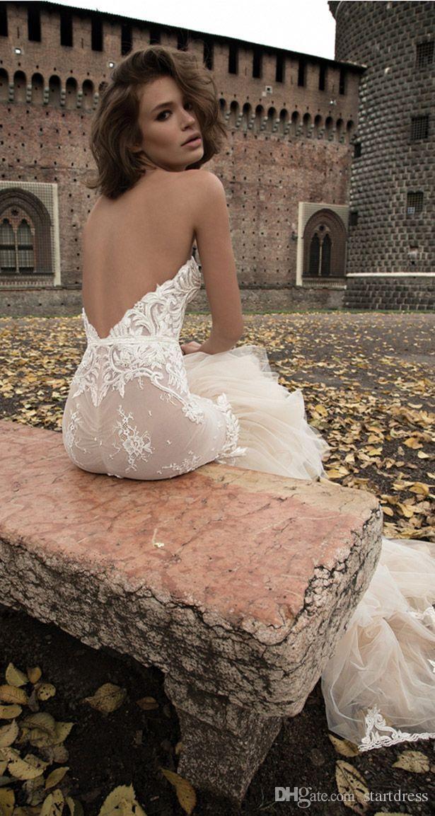 Fitted Blush Mermaid Backless Garden Sweetheart Wedding Dresses 3d Floral Applique Cheap Country bohemian robe de mariée Ruffles Bridal Gown