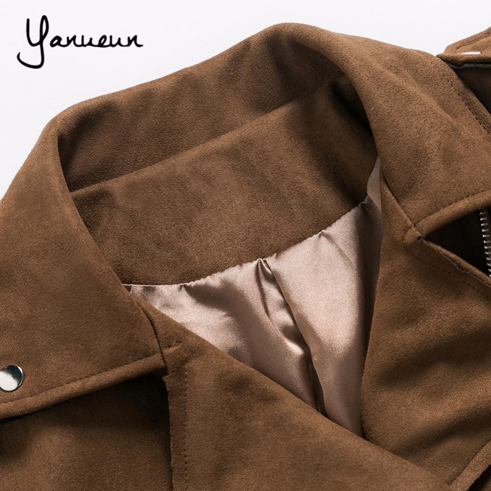 Yanueun 2017 Women Suede Leather Jacket Outwear Turn-down Collar Punk High Street Sashes Lady Flying Motorcycle Jackets Coats