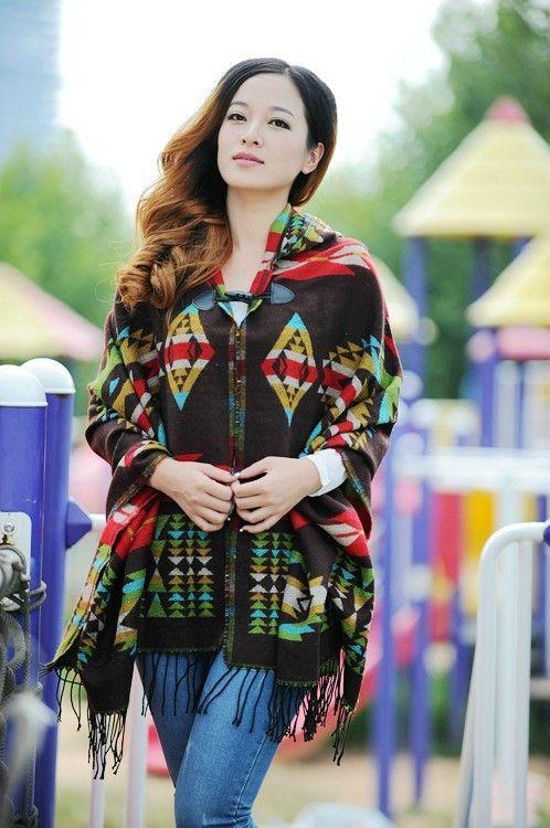 Bohemian Cape Poncho Shawl Scarf Tribal Fringe Hoodies Jacket Ethnic Warm Cardigans For Women 2016 new wool blankets cape shawl