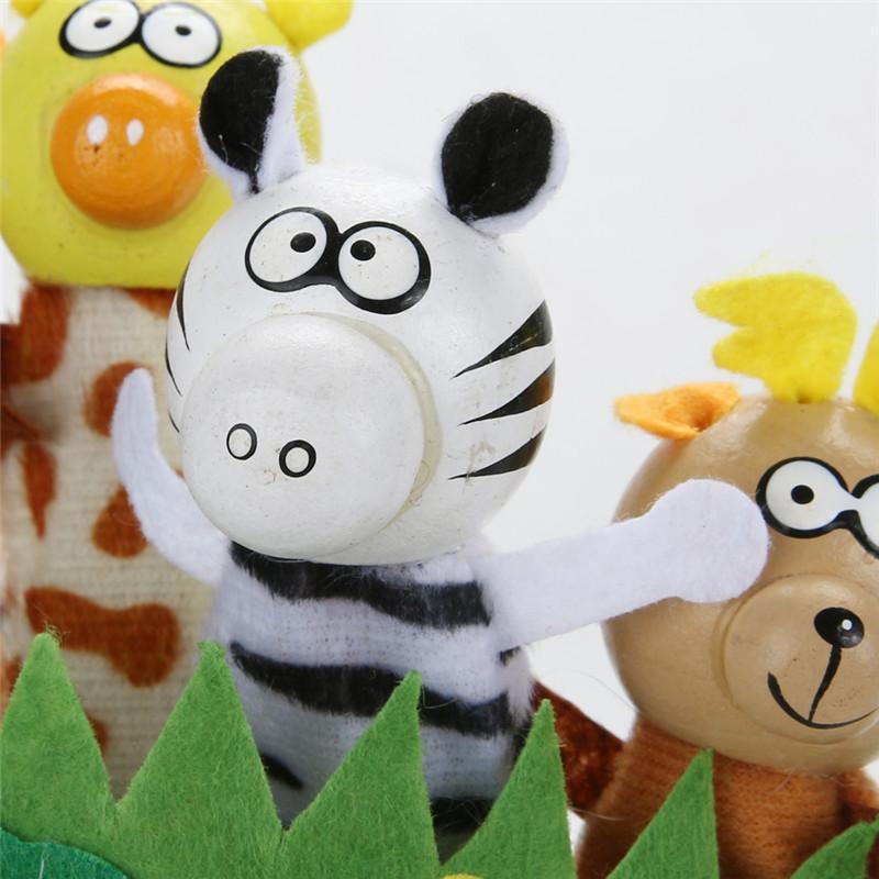 Family Finger Toy Cartoon Animal Finger Puppet Plush Baby Favor Toys Dolls Kid Child Boys Girls Educational Hand Toy