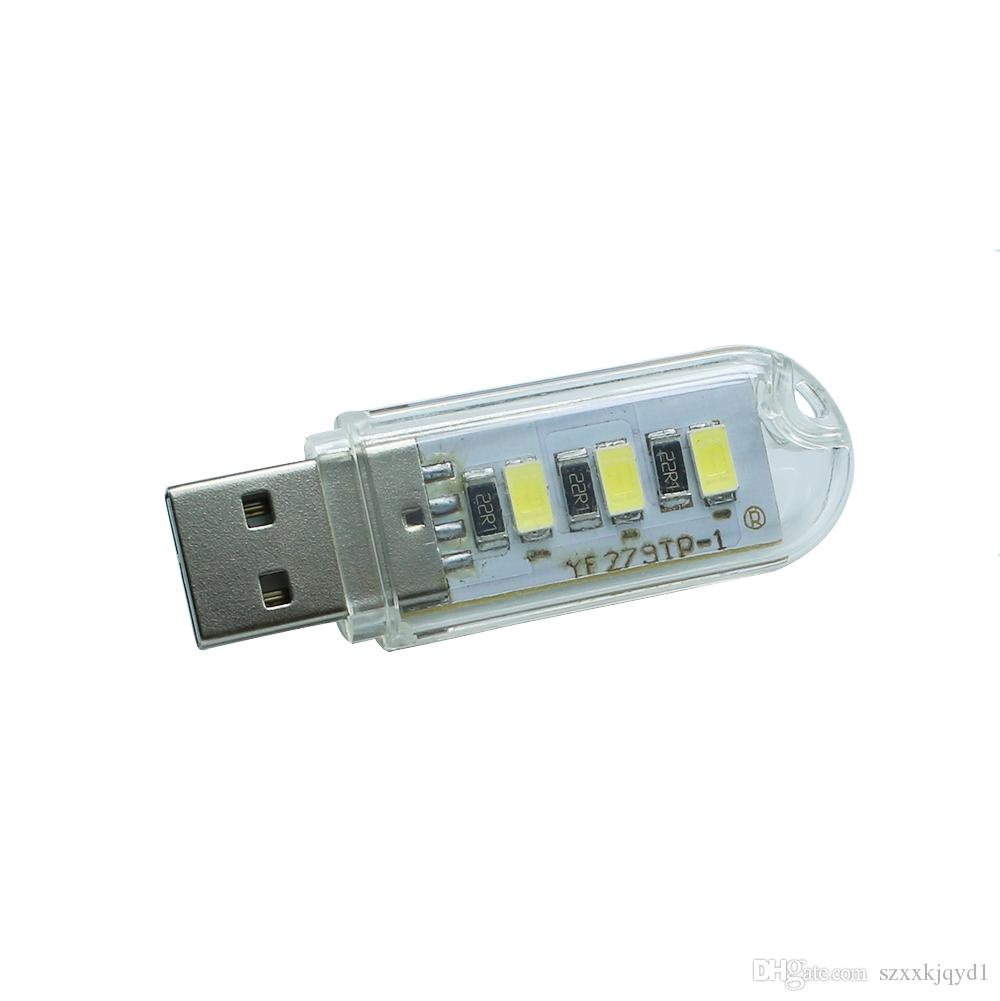 Protable Mobile Power USB LED Lamp 5730 SMD 8leds 3Leds Book lights For PC Laptops Computer Mobile Power Camping lamps