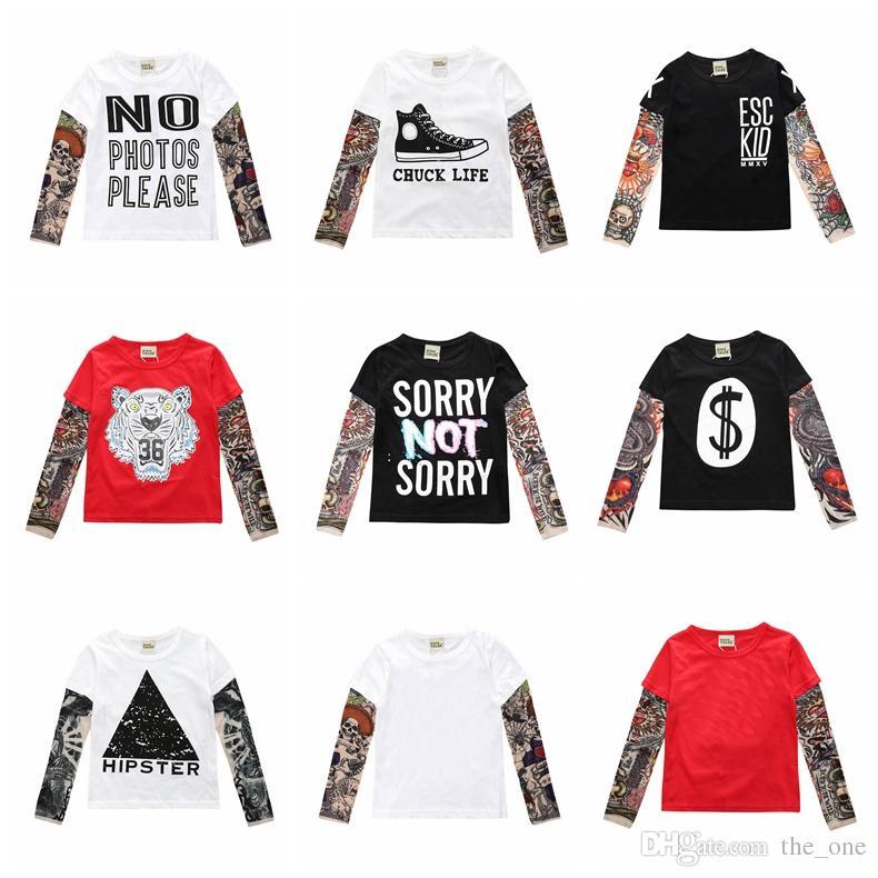 best service a5fe5 ae9dd Hip Hop Jungen Mädchen Cool Cartoon Print Tattoo Ärmel T Shirt Kinder  Kinder Kleidung Jungen T Shirt Spleißen Body Art Kleidung für Kinder