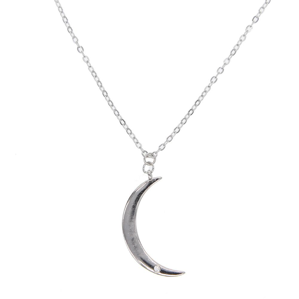 2018 simple 925 sterling silver crescent moon cute girl young girl 2018 simple 925 sterling silver crescent moon cute girl young girl moon pendant necklace italy silver 925 chain necklace cheap from w245 2748 dhgate aloadofball Gallery
