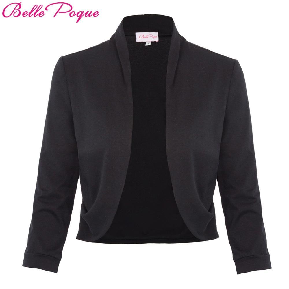 Spring Autumn Tops Jacket Women Black Shrug Bolero 3 4 Sleeve Cotton Womens  Open Stitch Vintage Female Slim Outerwear Coats S18101204 Leather Jackets  Women ... 5ca99e66b