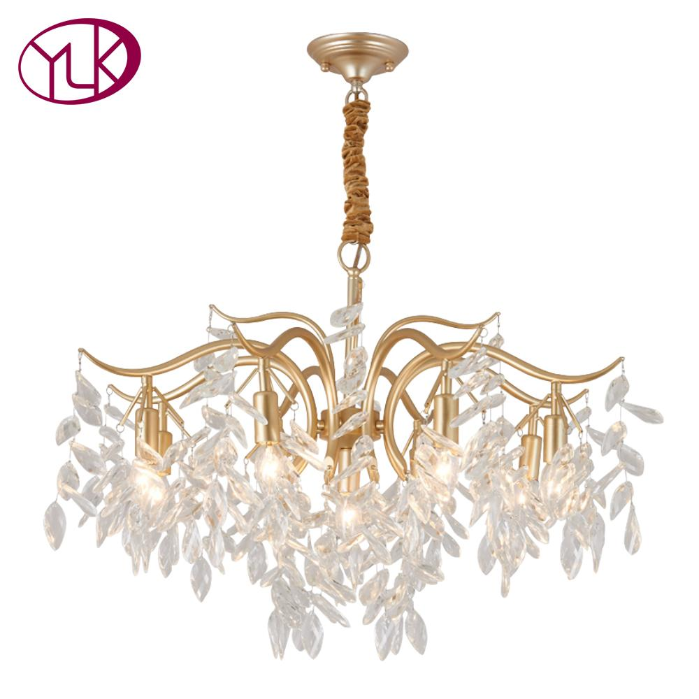Youlaike Luxury Modern Crystal Chandelier Lighting For Living Room Creative Design Hanging Light Fixture Dining LED Cristal Linear Round