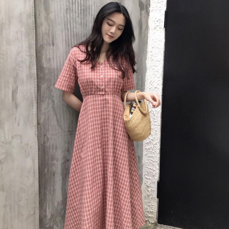 ebfd127603ba Korean Style Womens A Line V Neck Classy Dress Summer Vintage Lattice Print  Bandage Bow Casual Long Dress With Belt For Female Summer Dress For Women  Women ...
