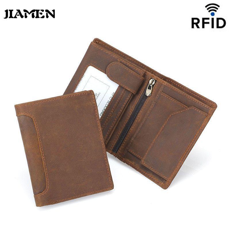 118189231bf8 JIAMEN Genuine Cow Leather Men Wallet Fashion Coin Pocket Trifold ...