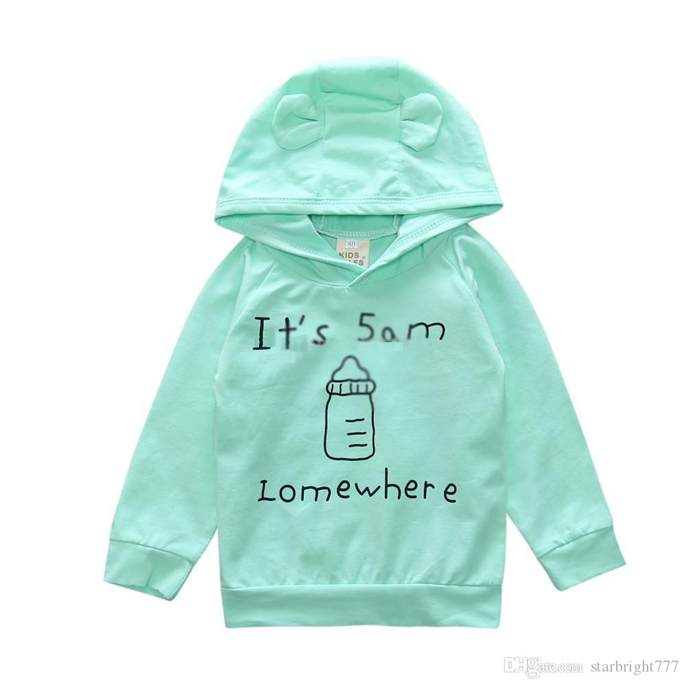 Baby milk bottle Print outfits INS Toddler Letter Hooded Sweat Shirt+pants 2018 fashion Boutique kids Clothing Sets