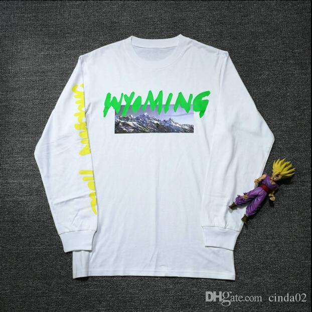 KANYE WEST New Design T-shirt WYOMING ye Album Letter Men Clothing Tops  Long Sleeve Fashion T-shirts