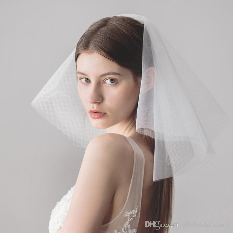 2018 New Short Wedding Veil White Ivory Bridal Veil Lace Cheap ...