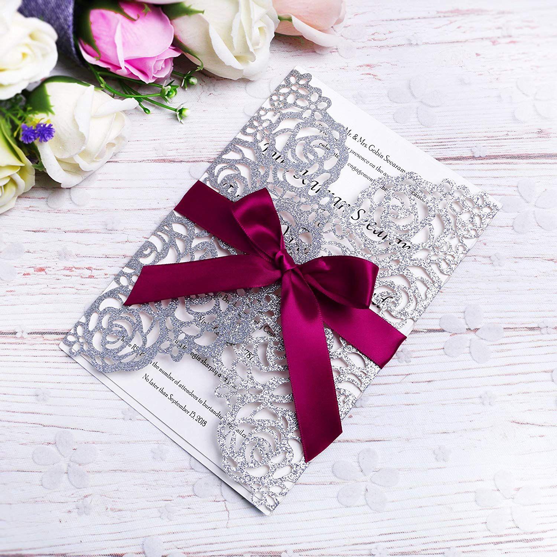 Elegant Argent Glitter Laser Cut Cartes D Invitation Avec Des Rubans Bordeaux Pour Mariage Douche De Fiancailles Fiancailles Anniversaire