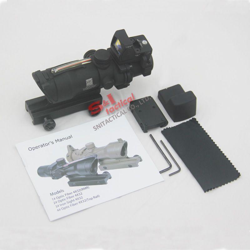 Trijicon táctico ACOG 4X32 Fuente de fibra Fibra óptica roja fibra real Alcance con RMR Micro Punto rojo Versión marcada Negro / Tierra oscura