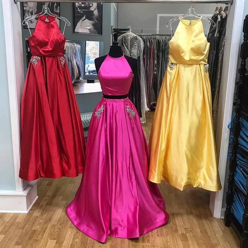 ccd414b60641 ... Yellow Prom Dresses 2018 Open Back Evening Party Dress With Beads  Pocket Robe de soiree SE257 ...